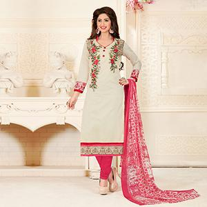 Adorning Off-White Colored Partywear Embroidered Chanderi Silk Suit