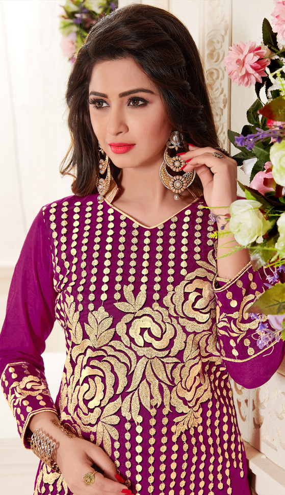 Glorious Purple Colored Partywear Embroidered Chanderi Silk Suit