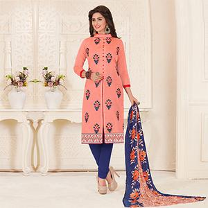 Awesome Peach Colored Partywear Embroidered Chanderi Silk Suit