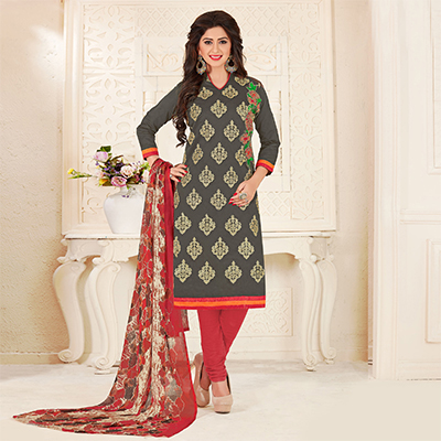 Beautiful Grey Colored Partywear Embroidered Chanderi Silk Suit