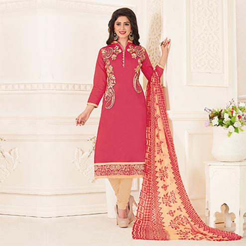 Dazzling Pink Colored Partywear Embroidered Chanderi Silk Suit