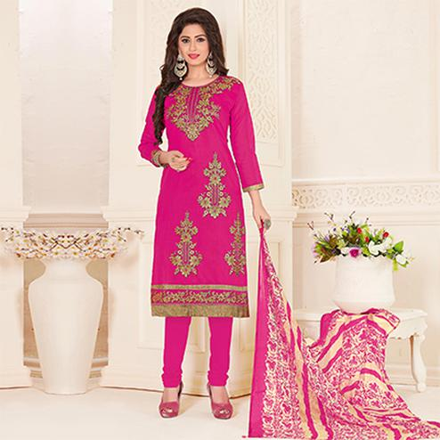 Gorgeous Rani Pink Colored Partywear Embroidered Chanderi Silk Suit
