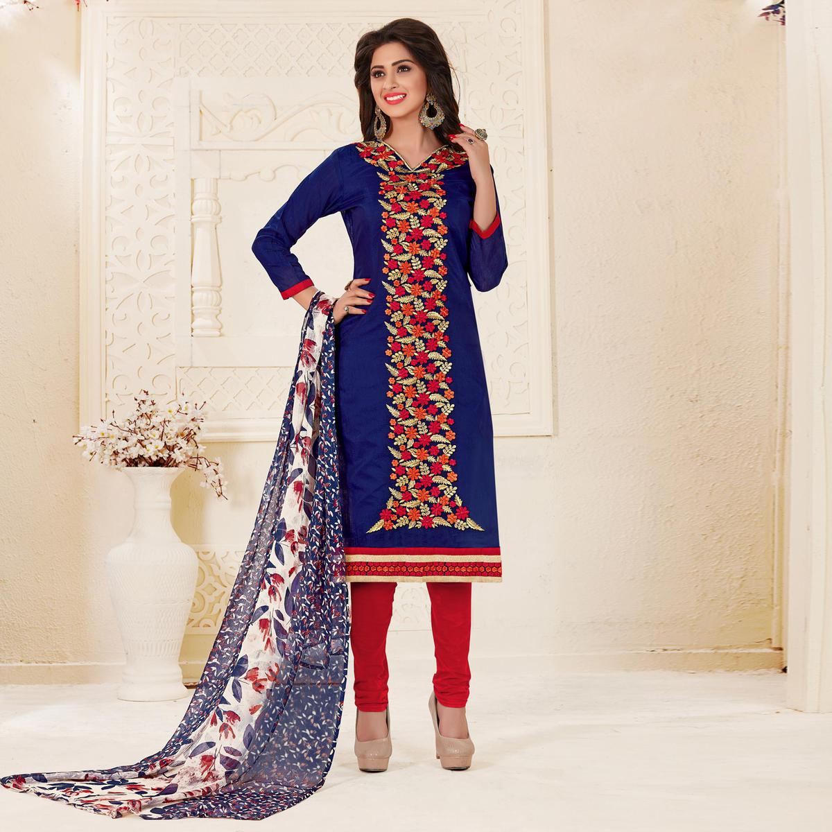 Refreshing Navy Blue Colored Partywear Embroidered Chanderi Silk Suit