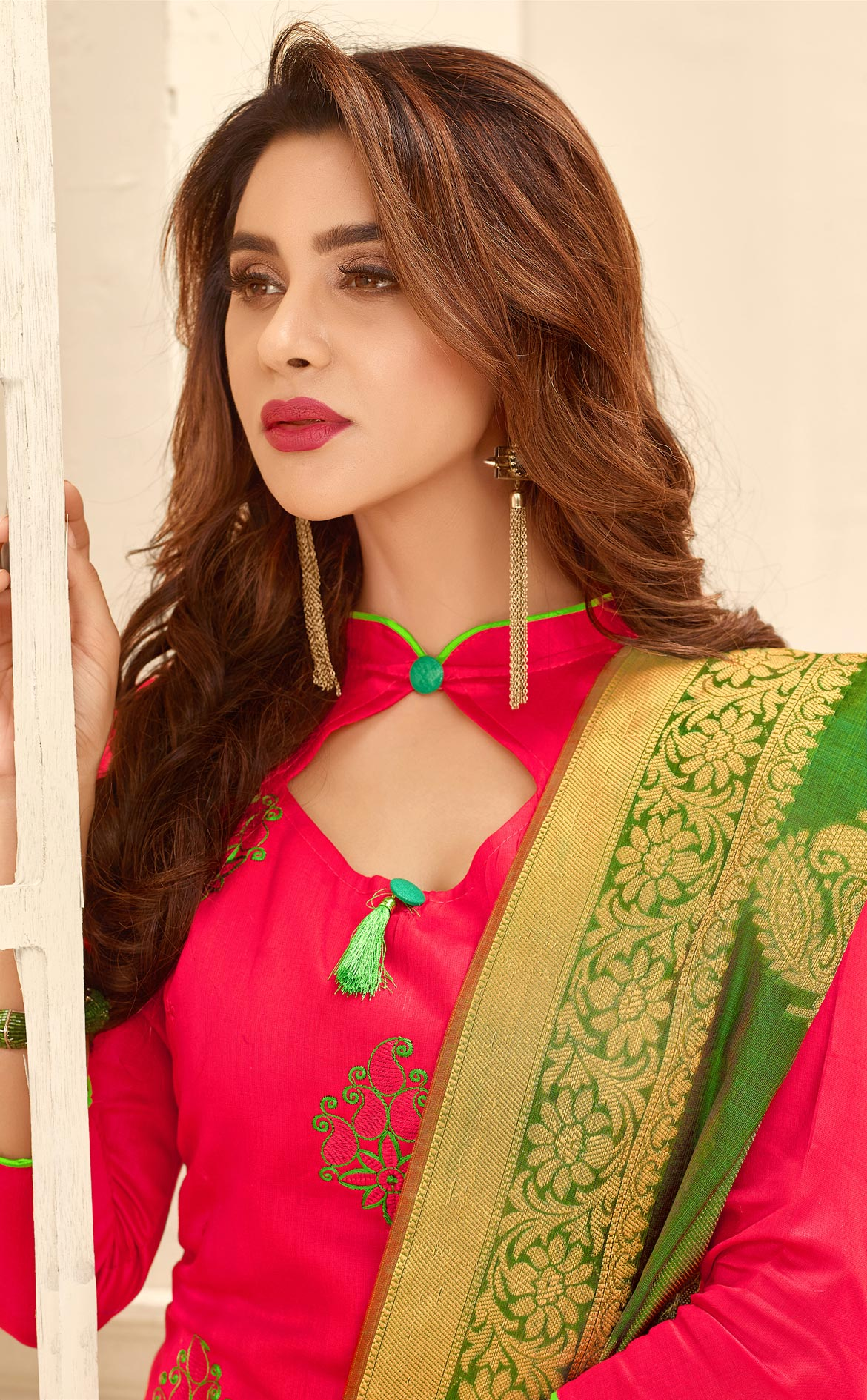 Appealing Pink Colored Partywear Embroidered Cotton Suit With Pure Banarasi Silk Dupatta