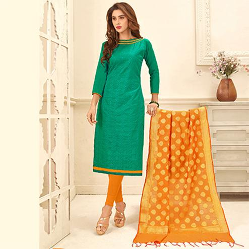 Adorable Turquoise Green Colored Partywear Embroidered Cotton Suit With Pure Banarasi Silk Dupatta
