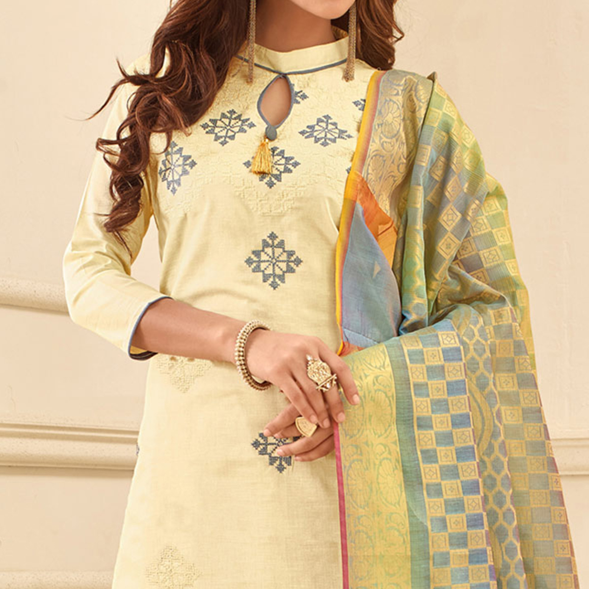 Refreshing Off-White Colored Partywear Embroidered Cotton Suit With Pure Banarasi Silk Dupatta