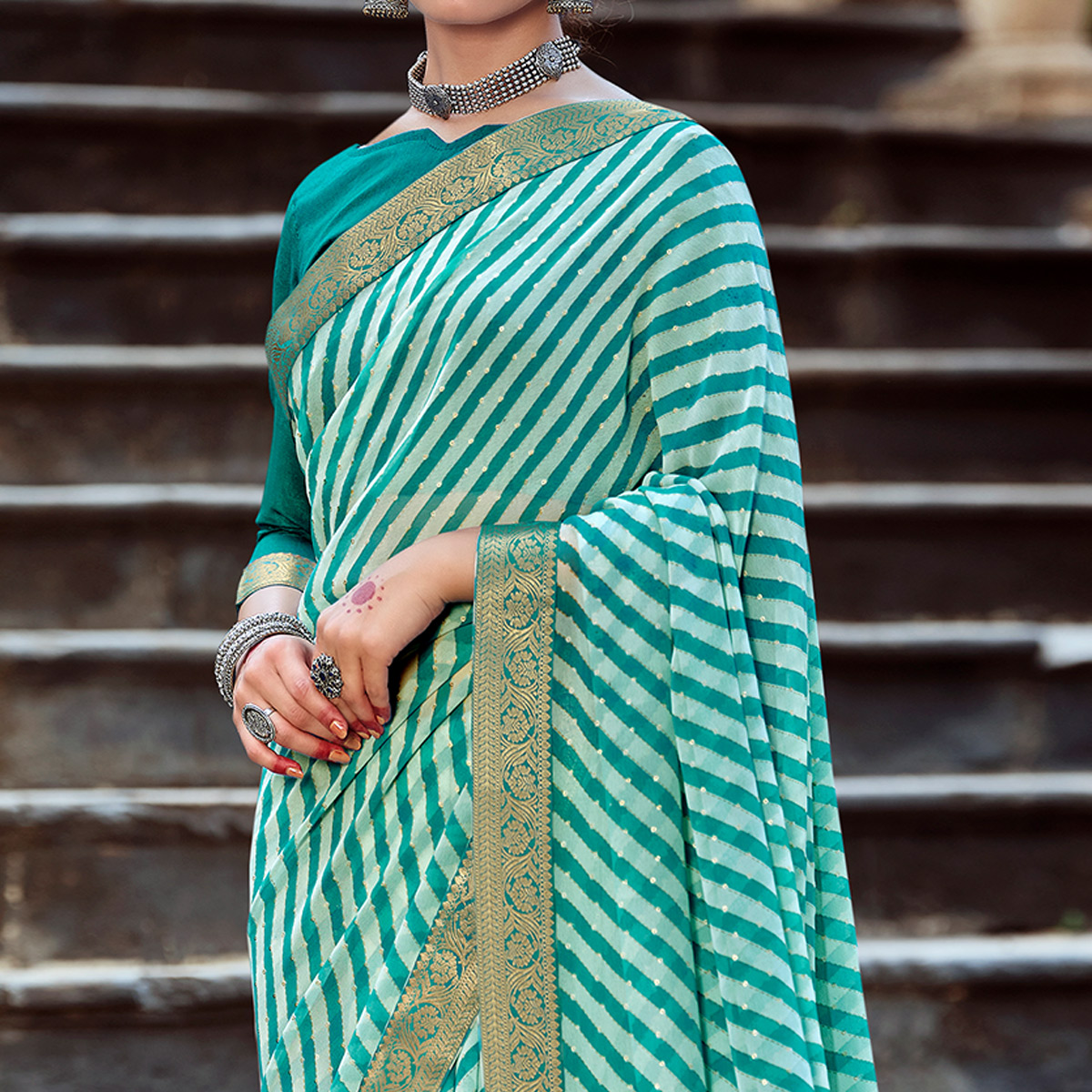 Turquoise Green Casual Wear Stripes Printed Georgette Saree With Lace