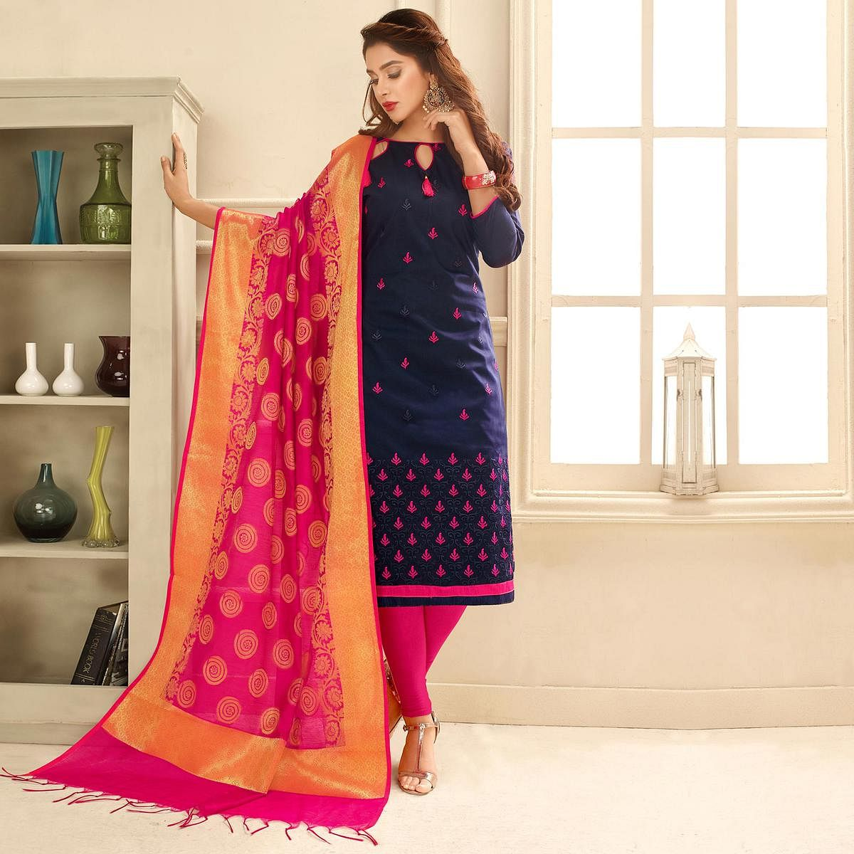 Sizzling Dark Purple Colored Partywear Embroidered Cotton Suit With Pure Banarasi Silk Dupatta