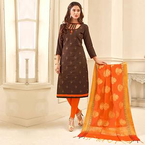 Trendy Brown Colored Partywear Embroidered Cotton Suit With Pure Banarasi Silk Dupatta