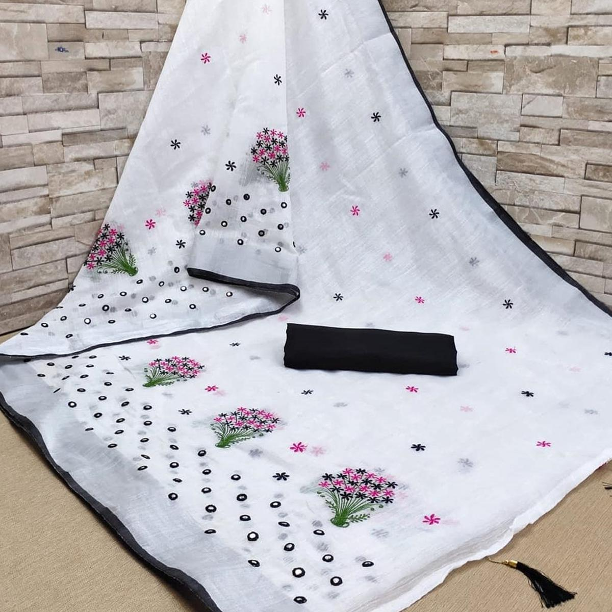 White - Black Casual Wear Floral Embroidered Linen Saree