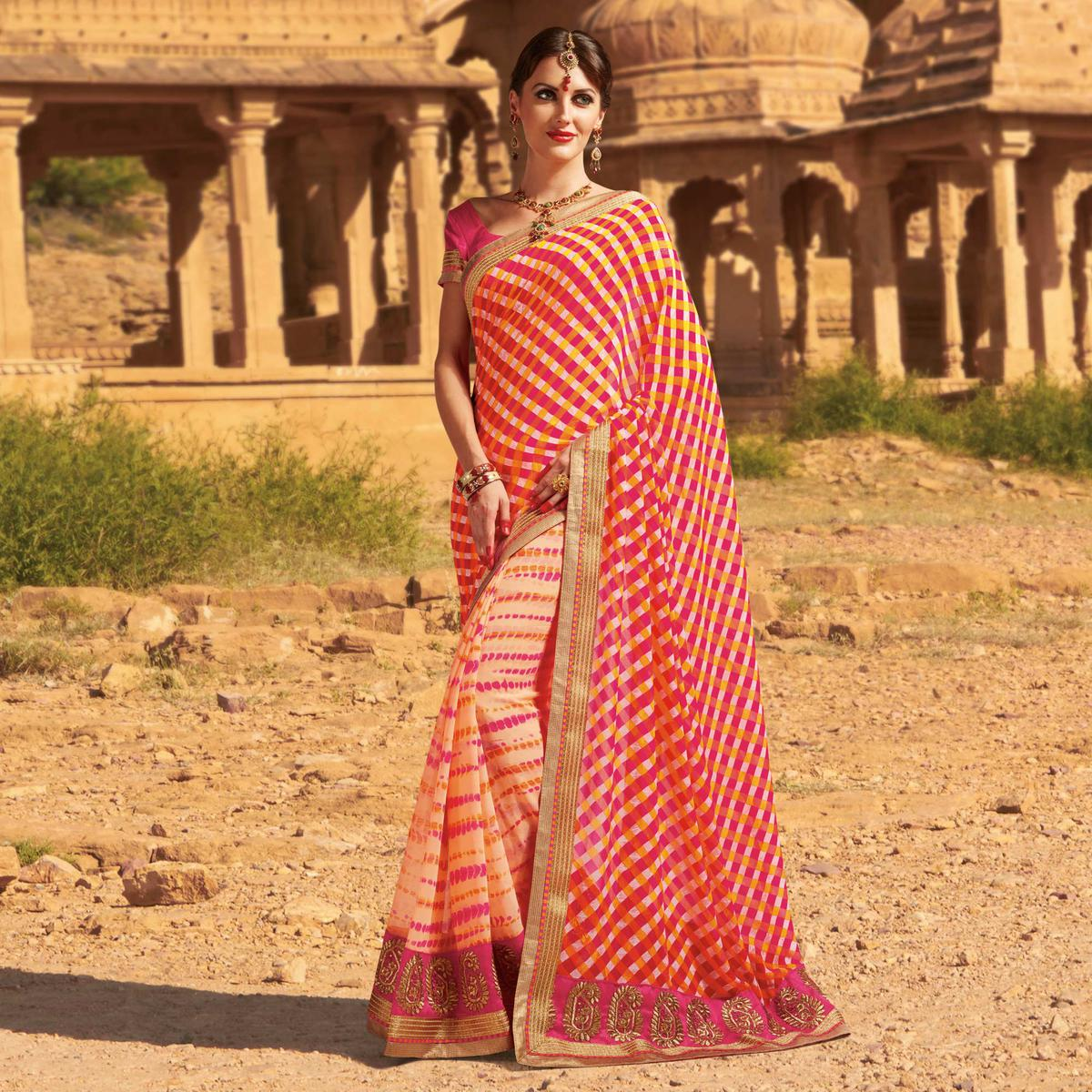 Cream - Pink Traditonal Design Georgette Saree