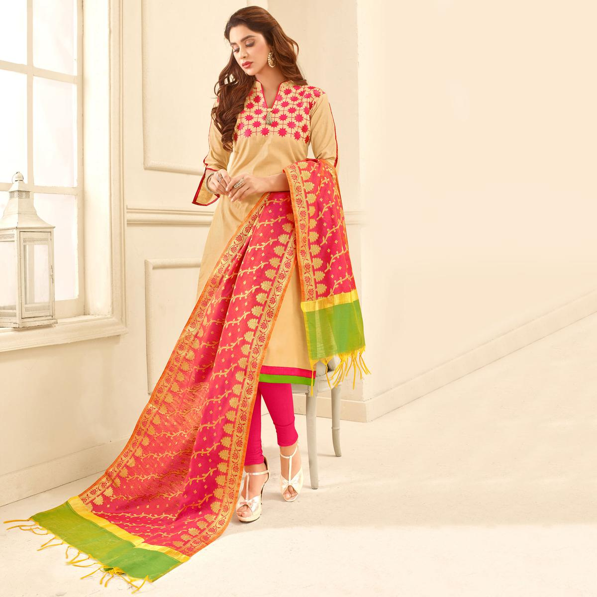 Glorious Beige Colored Partywear Embroidered Cotton Suit With Pure Banarasi Silk Dupatta