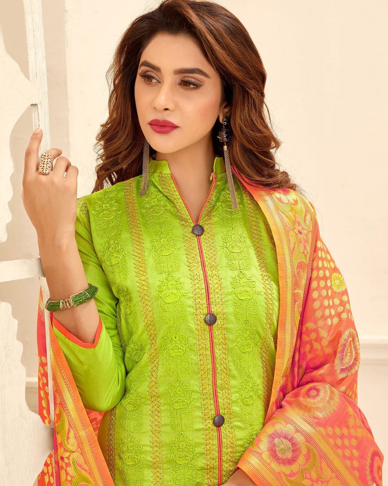 Gorgeous Lemon Green Colored Partywear Embroidered Cotton Suit With Pure Banarasi Silk Dupatta