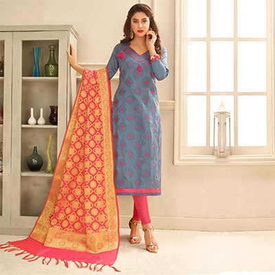 Blooming Grey Colored Partywear Embroidered Cotton Suit With Pure Banarasi Silk Dupatta