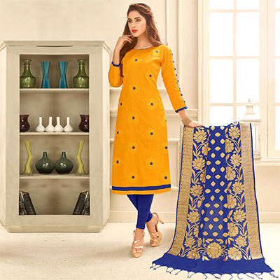 Graceful Yellow Colored Partywear Embroidered Cotton Suit With Pure Banarasi Silk Dupatta