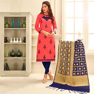 Pretty Peach Colored Partywear Embroidered Cotton Suit With Pure Banarasi Silk Dupatta