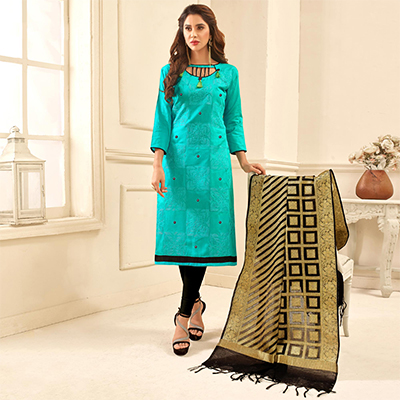 Attractive Aqua Blue Colored Partywear Embroidered Cotton Suit With Pure Banarasi Silk Dupatta