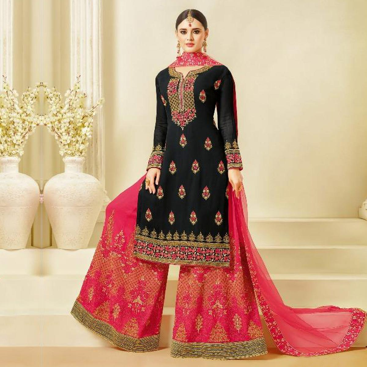 Mesmerising Black-Pink Designer Embroidered Georgette Palazzo Suit