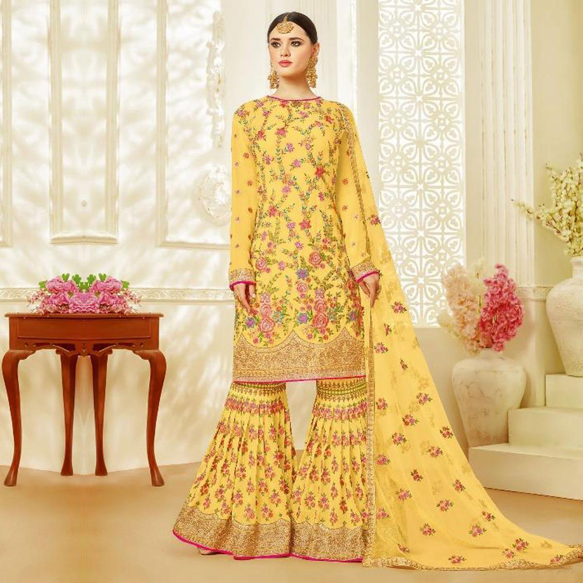 Gorgeous Yellow Designer Embroidered Faux Georgette Palazzo Suit
