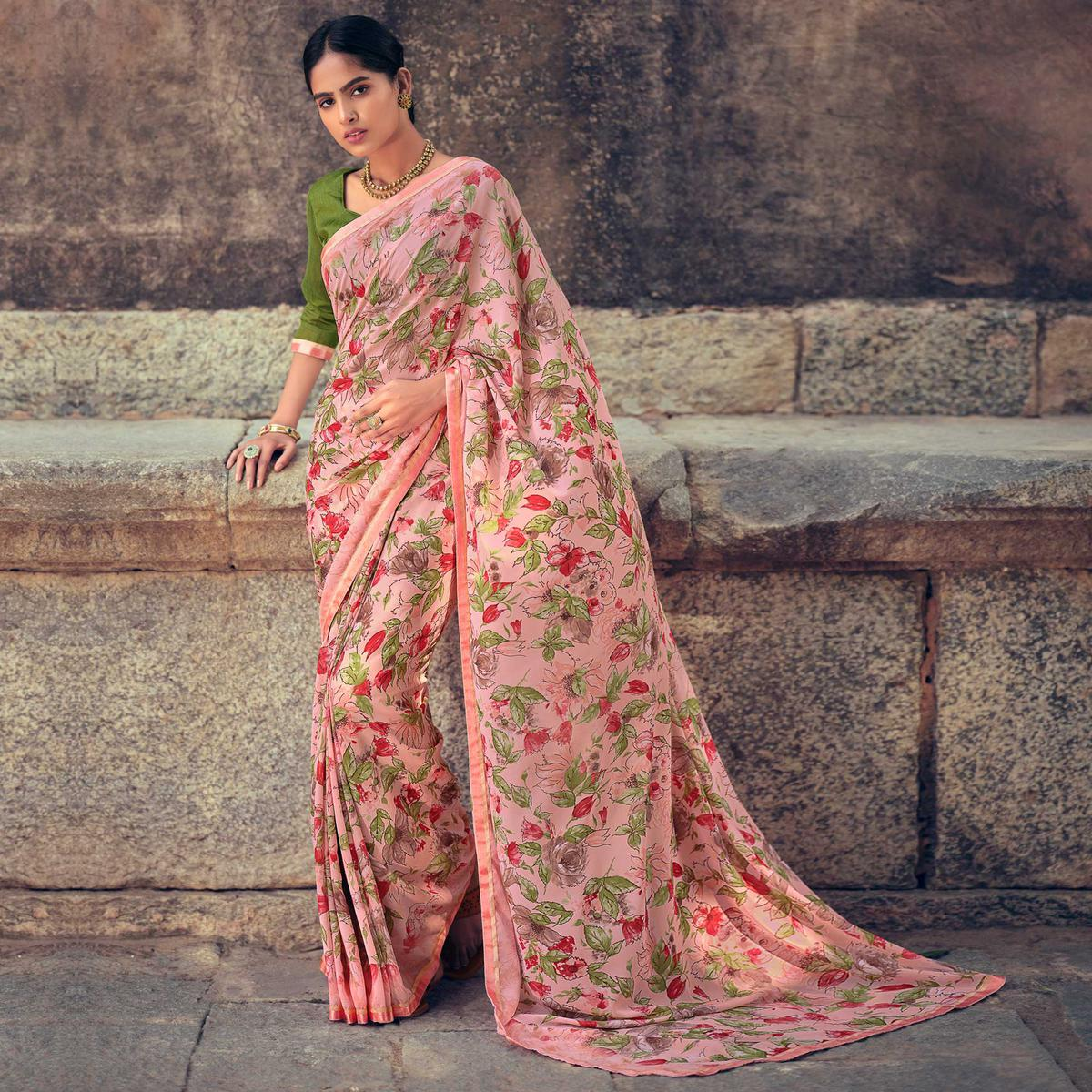 Peach Casual Wear Floral Printed Georgette Saree With Satin Patta