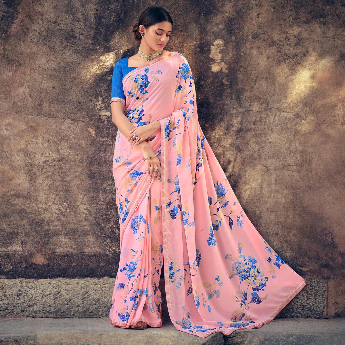 Pink Casual Wear Floral Printed Georgette Saree With Satin Patta