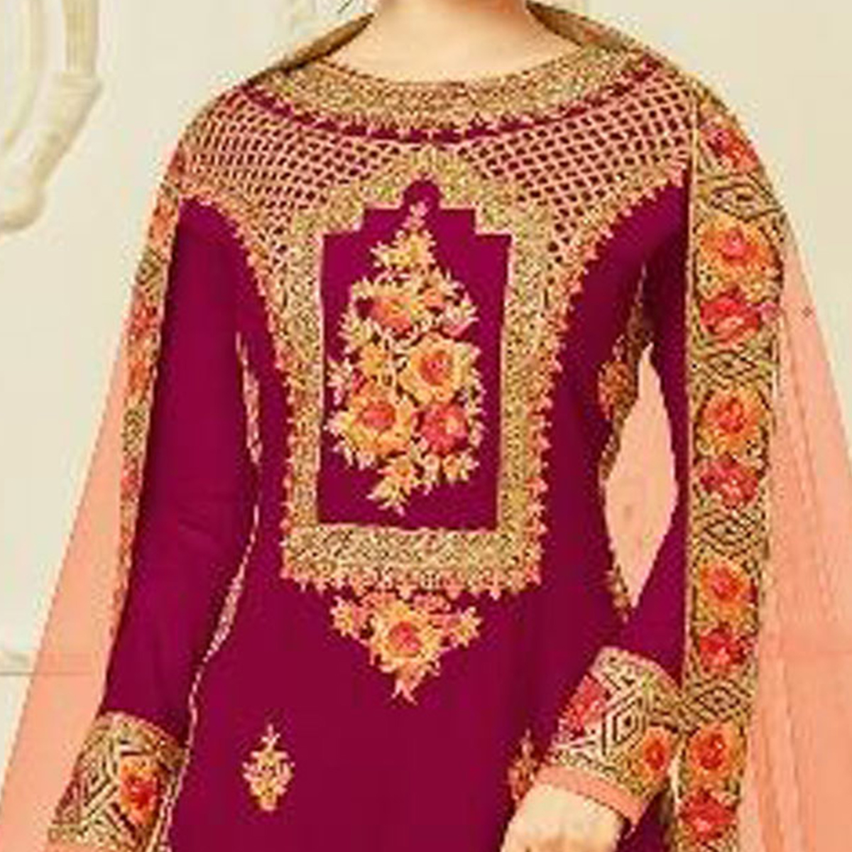 Exotic Magenta Pink-Peach Designer Embroidered Georgette Palazzo Suit
