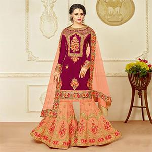 Exotic Magenta Pink-Peach Designer Embroidered Faux Georgette Palazzo Suit