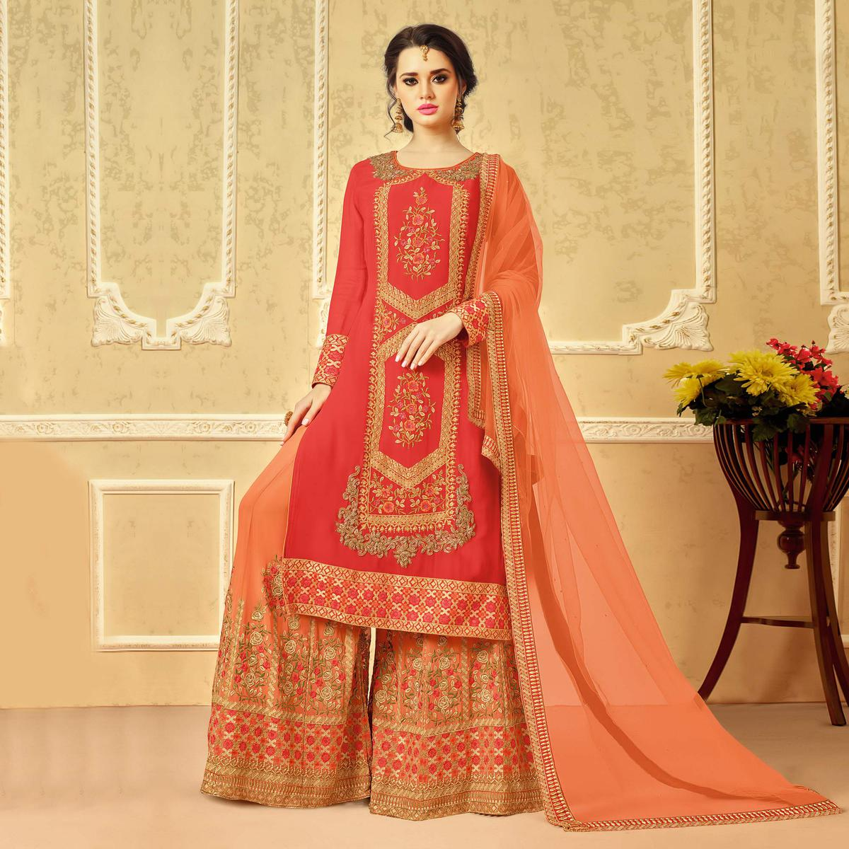 Desirable Pink - Peach Designer Embroidered Faux Georgette Palazzo Suit