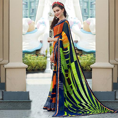 Multi Colored Casual Wear Printed Georgette Saree