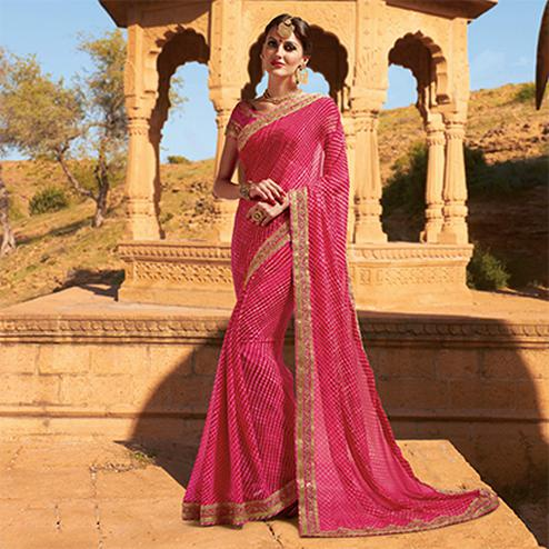 Pink Festive Wear Georgette Saree