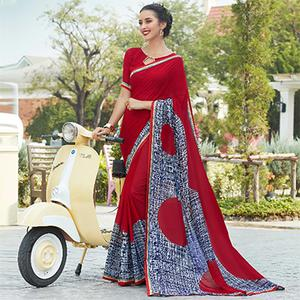 Red Colored Casual Wear Printed Georgette Saree