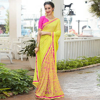 Light Yellow Colored Casual Wear Printed Georgette Saree