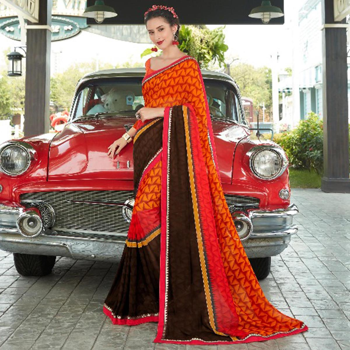 Dark Orange-Brown Colored Casual Wear Printed Georgette Saree