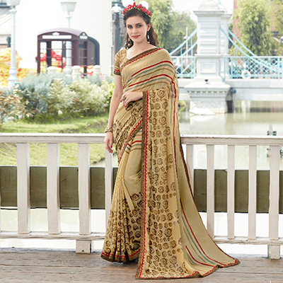 Beige Colored Casual Wear Printed Georgette Saree