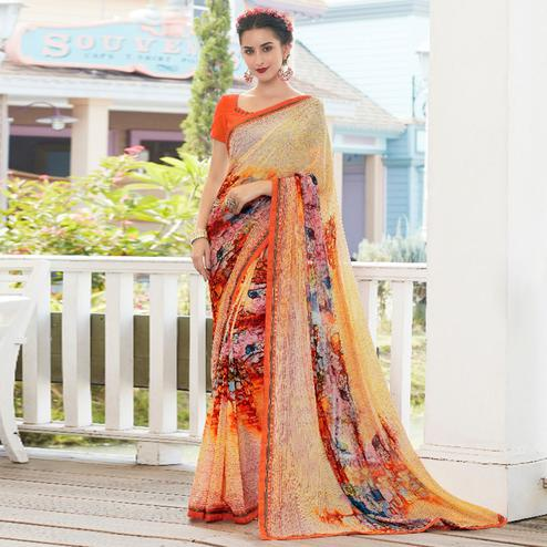 Beige-Orange Colored Casual Wear Printed Georgette Saree