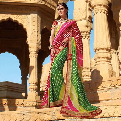 Green - Maroon Traditional Design Saree