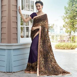 Purple-Brown Colored Casual Wear Printed Georgette Saree