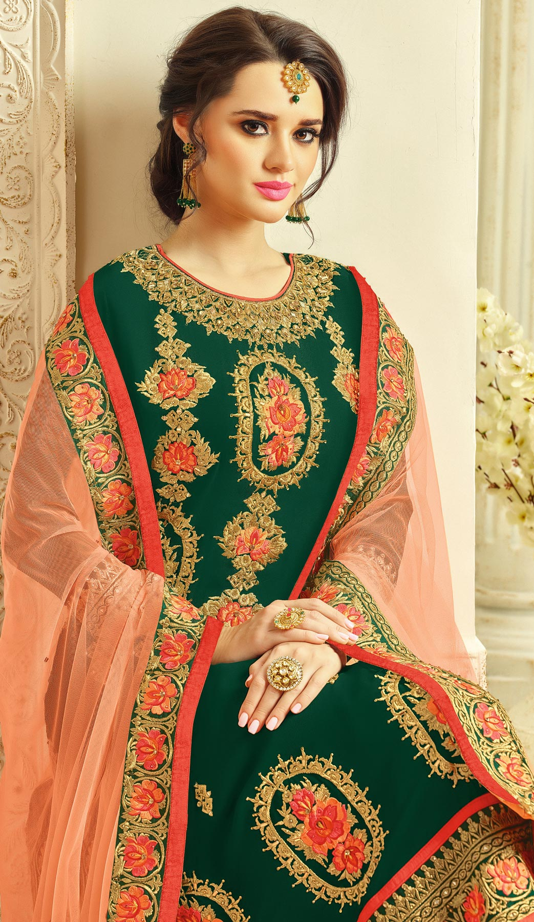 Adorable Green - Peach Designer Embroidered Faux Georgette Palazzo Suit