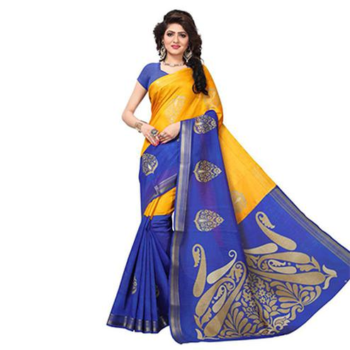 Gorgeous Yellow - Blue Casual Printed Art Silk Saree