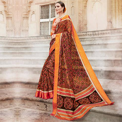 Orange-Brown Colored Casual Wear Printed Kota Silk Saree