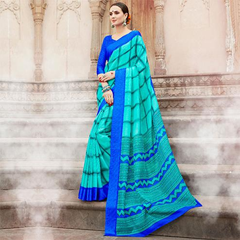 Turquoise Colored Casual Wear Printed Kota Silk Saree