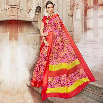 Pink-Red Colored Casual Wear Printed Kota Silk Saree