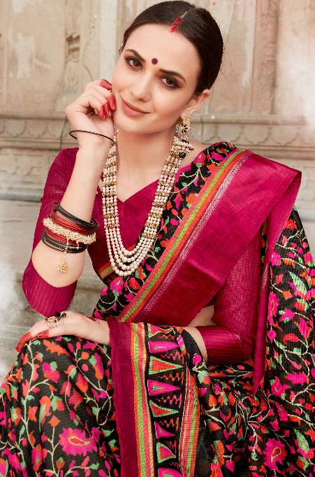 Black Colored Casual Wear Printed Kota Silk Saree