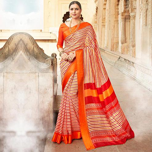 Beige-Orange Colored Casual Wear Printed Kota Silk Saree
