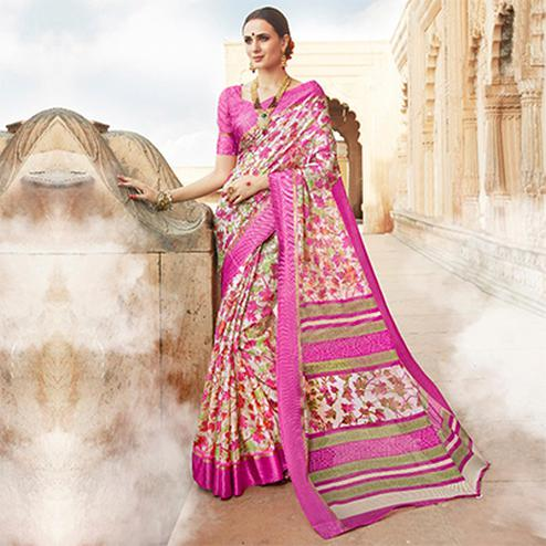 Pink Colored Casual Wear Printed Kota Silk Saree