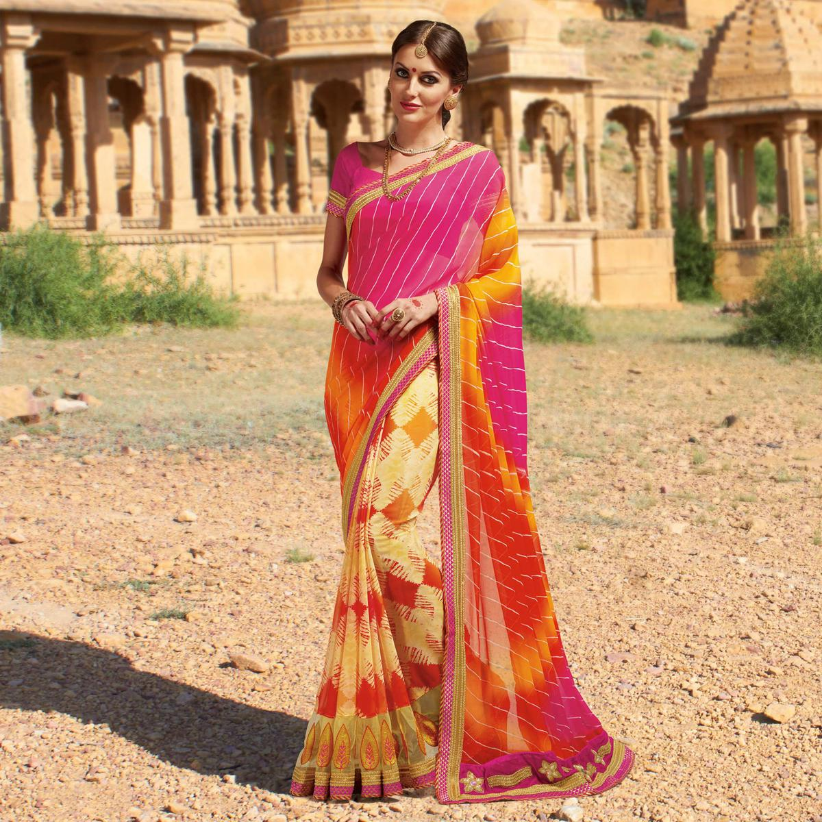 Yellow - Pink Georgette Embroidered Border Saree