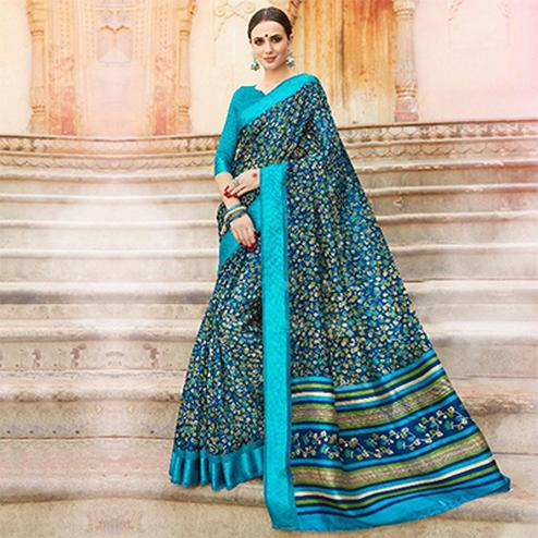 Blue Colored Casual Wear Printed Kota Silk Saree