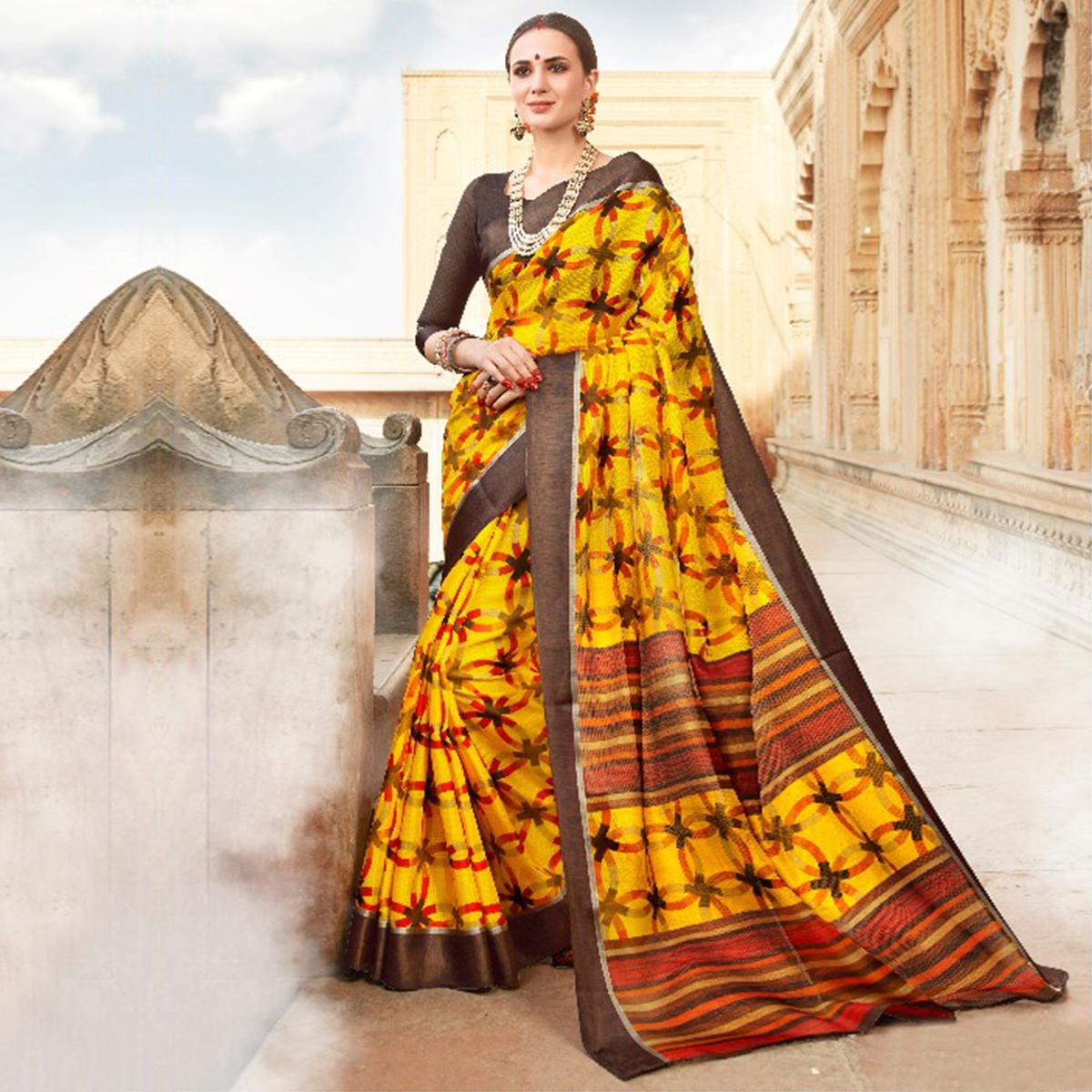 Yellow Colored Casual Wear Printed Kota Silk Saree