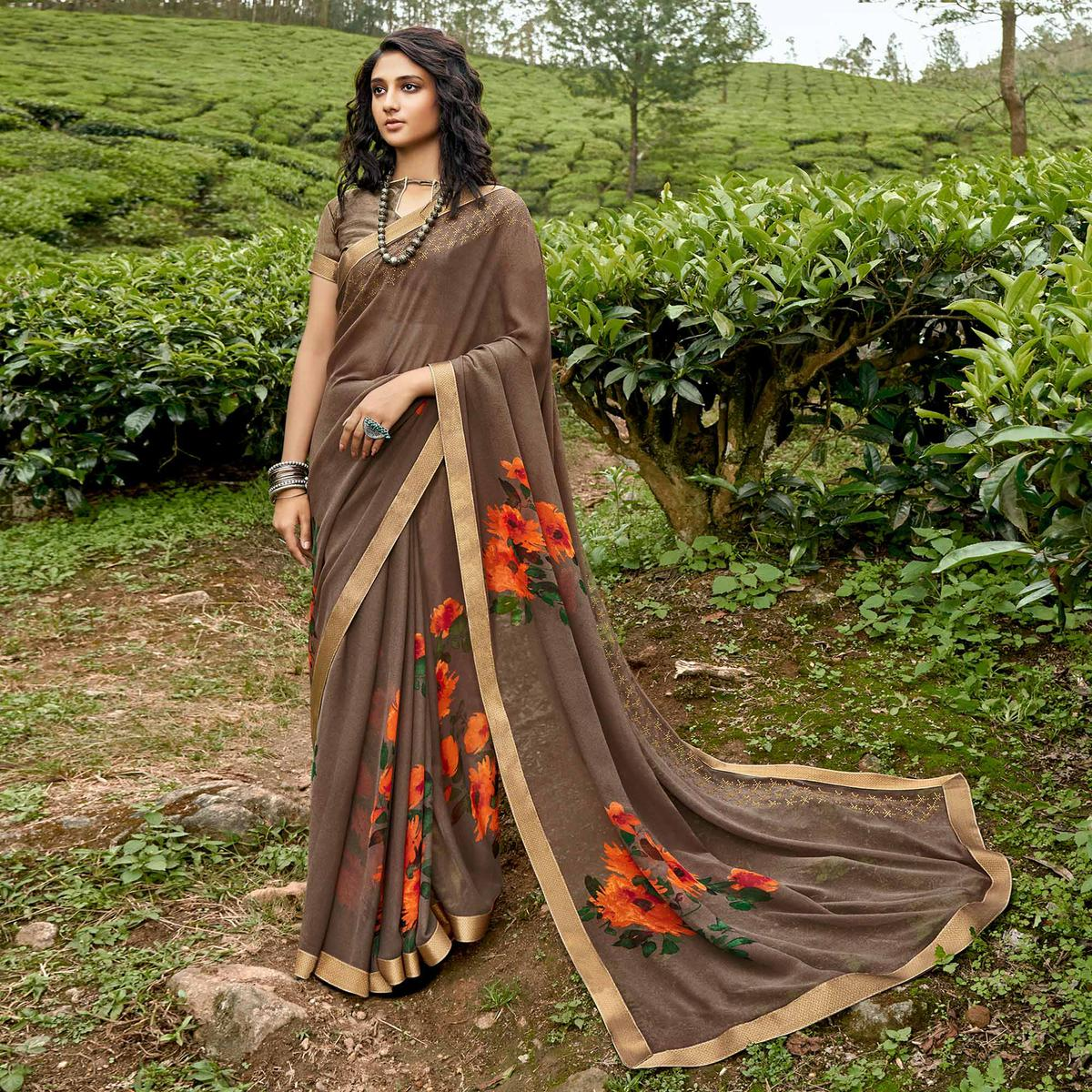 Brown Casual Wear Floral Printed Georgette Saree With Fancy Lace