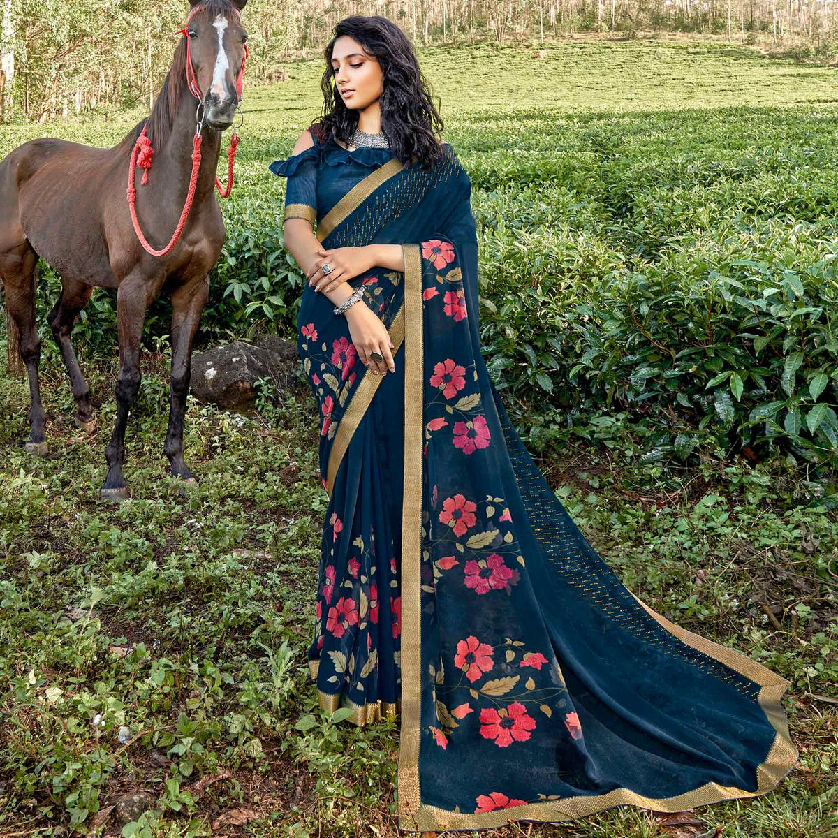 Dark Blue Casual Wear Floral Printed Georgette Saree With Fancy Lace